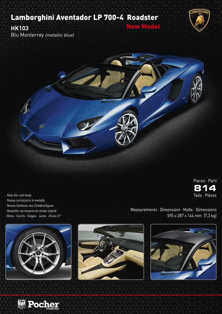 Hobbyeasy Lamborghini Aventador Lp 700 4 Roadster Metallic Blue